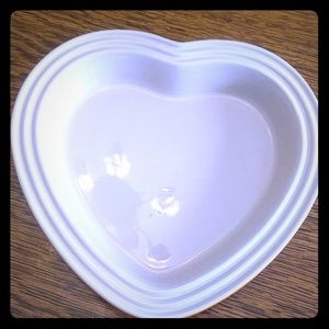 Le Creuset heart shaped baking dish in flame